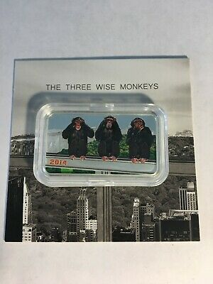 Tanzania 2014 1,000 Shillings The Three Wise Monkeys 1 Oz Silver Proof Coin