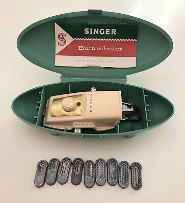 Vintage Singer Buttonhole Sewing Machine Attachment 9 Templates Green Case