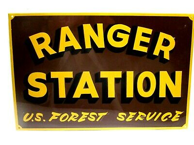 Vintage U.S Forest RANGER STATION Park Service Forestry Painted Fire SIGN Smokey
