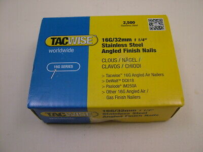 2nd fix Stainless Steel angled brad finish nails 16 gauge 32mm box of 2500