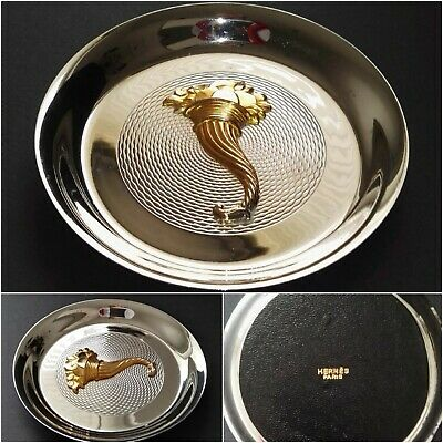 "HERMES PARIS Ø12cm ASHTRAY 4.7"" DESK TRAY Silver Metal Leather CORNUCOPIA Rare"