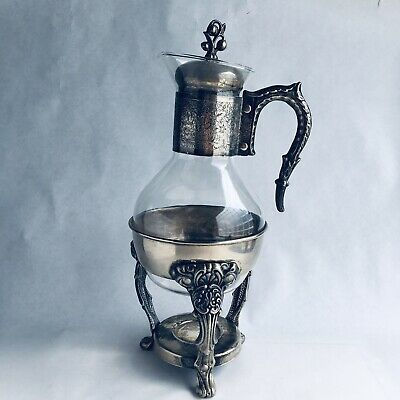 Vintage Silver & Glass Tea Coffee Warmer Carafe Pitcher SILVERPLATED With Stand