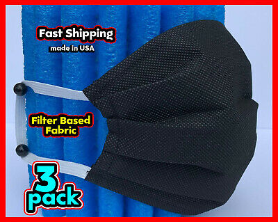 Filter Fabric Face Mask Washable Reusable Unisex Black 3 Pack Handmade In Usa