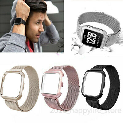 Wrist Watch Band Strap + Frame Case For Fitbit Versa Magnetic Milanese Loop
