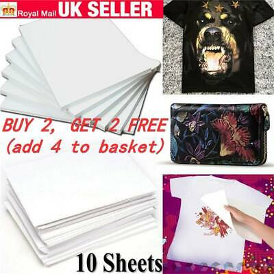 DIY T-Shirt 10X A4 Heat Transfer Iron-On Paper For Light & Dark Fabric Cloth HOT
