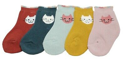 Baby & Girls Winter Thick Cotton Ankle Assorted Colour Cat Socks Age 1 2 3 4 5 6