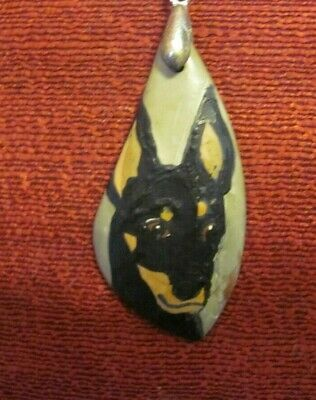 Manchester Terrier, standard, hand-painted on freeform pendant/bead/necklace