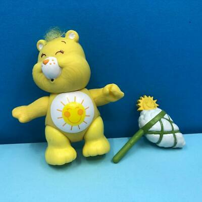 Vintage Care Bears Funshine Yellow Poseable Toy Action Figure w/ Accessory 1980s