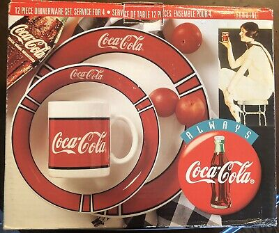 Coca-Cola 12 Piece Dinnerware Set Service for 4 Gibson China Vintage 1996 Coke