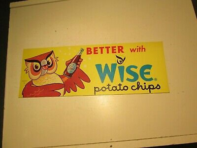 Vintage Wise Potato Chips Cardboard Advertisement Sign Better With Soda