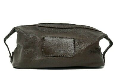 Pottery Barn Grant Toiletry Case Brown Pebbled Leather
