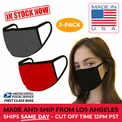 2 Pack Washable Reusable Cotton Face Mask Double Layer RED DARK GRY, MADE IN USA