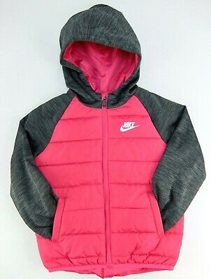 Nike Girls Jacket Pink Heather Gray Puffer White Hooded Polyester Size 4 or 6