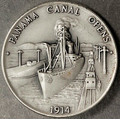 """Silver Panama Canal Opens Gem Bu Edge Marked """"The Danbury Mint Sterling Silver"""""""
