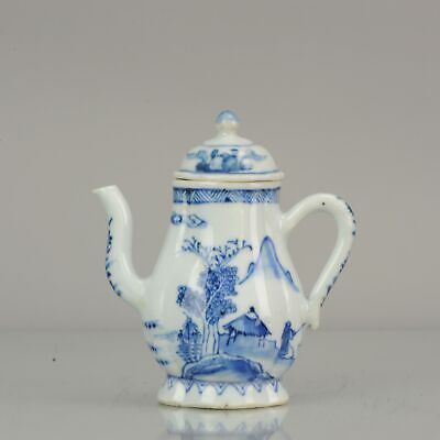 17C Chinese Porcelain Kangxi Blue And White VILLAGE lidded Pot Figures[:...