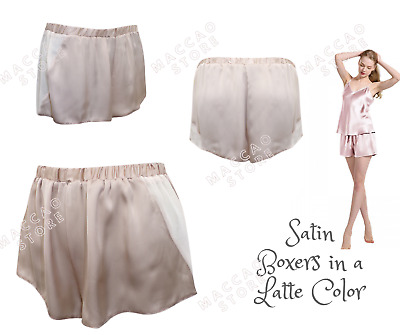 Ladies Boxer Shorts Satin Womens Pyjamas Pants Beige / Latte Underwear XS S M L