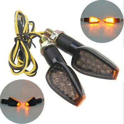 2Pcs 14LED Motorcycle Turn Signal Lamp Amber Light Indicator Universal 12V  Pa