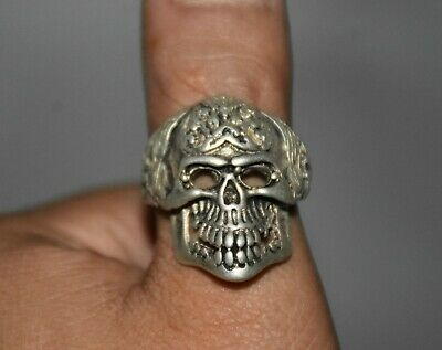 3CM Rare Old China Miao Silver Dynasty human skeleton Skull finger ring Rings