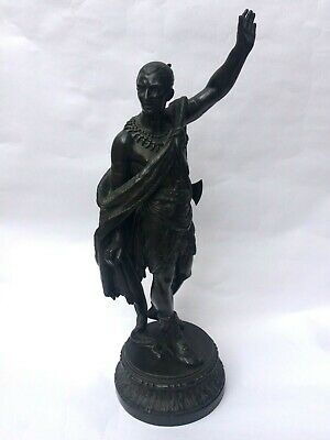 A LARGE VICTORIAN SPELTER OF NATIVE AMERICAN  CHIEF / SOLDIER 55 cm high