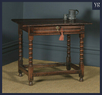 Antique English 17th Century Charles II Oak Occasional Side Hall Writing Table