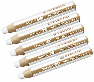 Multi-talented Pencil STABILO woody 3-in-1 box of 5 white