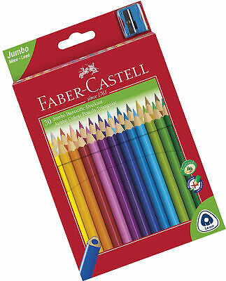 Faber-Castell Triangular Jumbo Colour Pencils with Sharpener (Pack of 30)