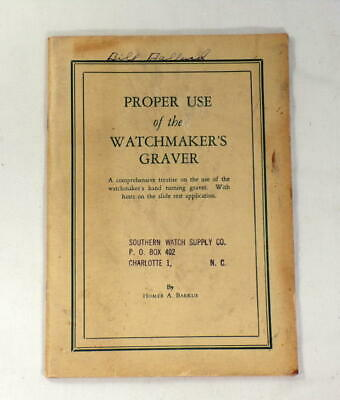 Vintage Watchmakers Barkus Graver Manual/Book Lathe Tool Use Guide  #8V