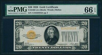 Fr. 2402 1928 $20 Gold Certificate PMG GEM UNCIRCULATED 66 EPQ