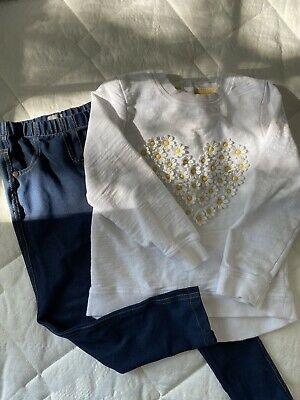 Girls Jeans And White Daisy Jumper Outfit Next Mothercare Age 4-5 Years