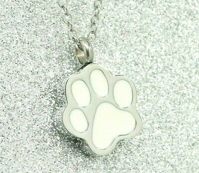 White Paw Cremation Urn Necklace for Dog or Cat Ashes, Engraveable Pet Memorial