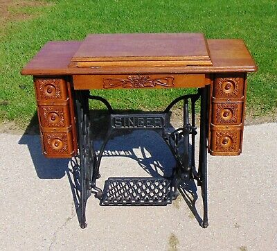Singer Treadle Sewing Machine 7 Drawer Cabinet And Cast Iron Base