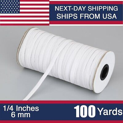100 Yards Elastic Flat Band 1/4 inches width (6mm) White String for Mask   DIY