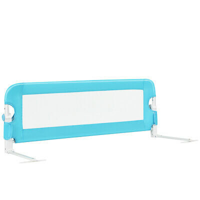 """48"""" Breathable Safety Bed Rail Guard Toddlers Kids Baby Foldable Bedrail Blue"""