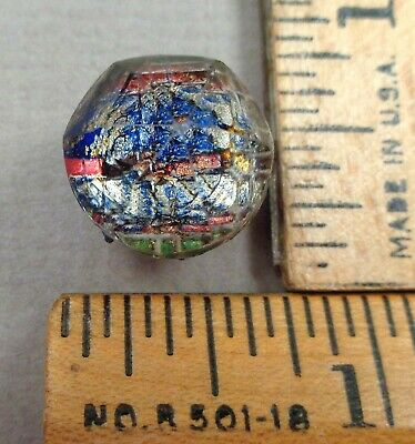 KALEIDOSCOPE BUTTON #22, 1800s Clear Faceted Glass w/ Colorful TIN BACKED Design