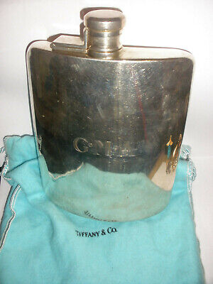 Rare vintage Tiffany co sterling silver flask 2 gills  8 oz comes with pouch