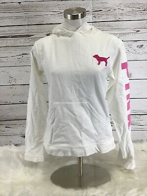 Victorias Secret PINK Woman's Size Small White Pullover Shirt With Hood