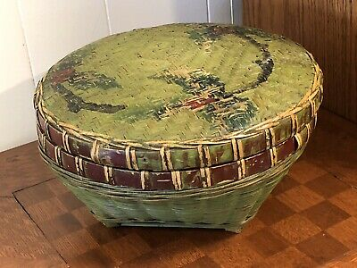 Vintage Hand Painted Woven Bamboo Lidded Basket 9.5""