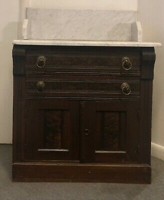 Antique Early Victorian Eastlake Washstand Dresser 1880's Marble Top