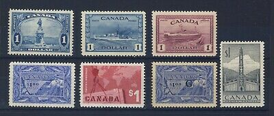 7x Canada Mint $1.00 stamps #227-#262-#273-#302-#321-#411-#O27-G OP CV=$525.00