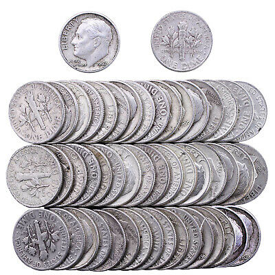 Roosevelt Dime Roll 90% Silver $5 Face 50 Circulated Mixed Date US Coin Lot