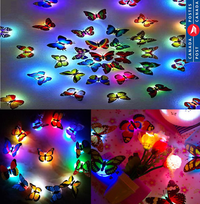 3D Butterfly LED Night Light Design Decal Wall Stickers Decoration Light Home