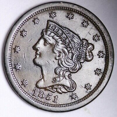1851 Braided Hair Half Cent CHOICE AU+/UNC FREE SHIPPING E102 WLM