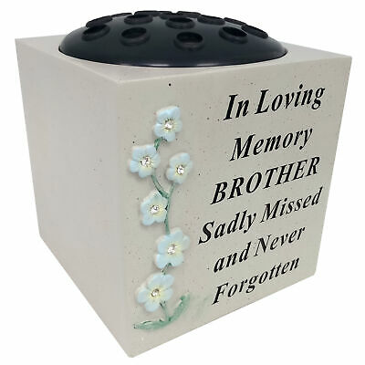 David Fischhoff Brother Memorial Forget Me Not Rosa Cuenco Tumba Flor Florero