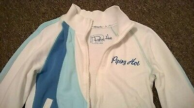 Piping Hot Zip-Up Jacket Size 10 White Blue Target Cotton Zip-Front Long Sleeve