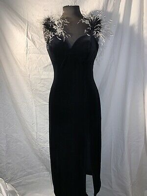 Black Evening/ Cocktail Dress With Ostrich Feather Trim. by Bernshaw Size M