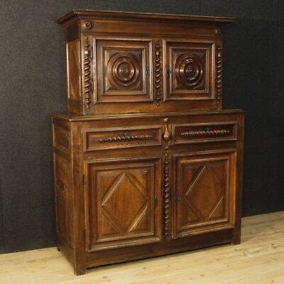 Antique Cupboard Closet Furniture Double Body Style Luigi XIII Wooden Nut 700