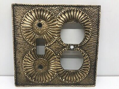 Vintage Midcentury Light Switch Outlet Plate Cover Brass Sunflower