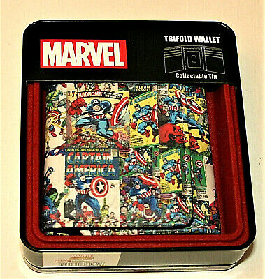 Marvel Comics Classic Covers Captain America Trifold Wallet & Collectors Tin NEW
