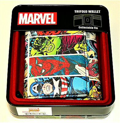 Marvel Comics Avengers Spider-Man Hulk Panel Trifold Wallet Collectors Tin NEW