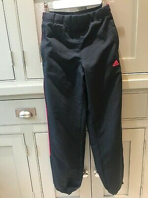 Adidas girls age 11-12 cotton lined shell tracksuit trousers bottoms pink stripe